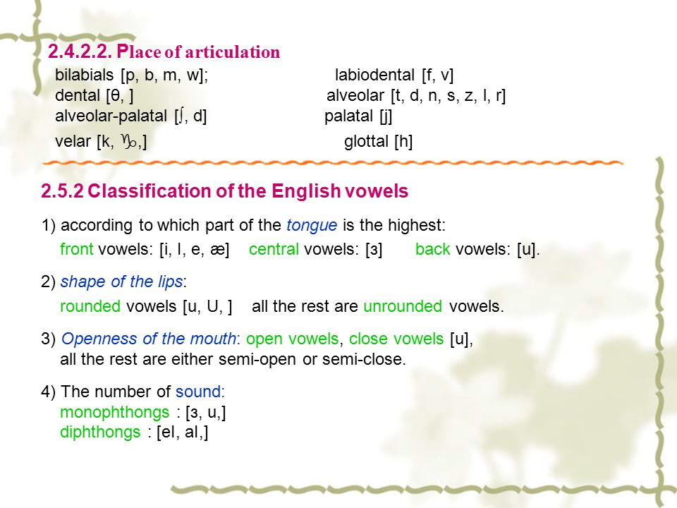 2.4.2.2. Place of articulation bilabials [p, b, m, w]; labiodental [f, v]